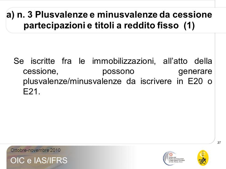 27 Ottobre-novembre 2010 OIC e IAS/IFRS Se iscritte fra le immobilizzazioni, allatto della cessione, possono generare plusvalenze/minusvalenze da iscr