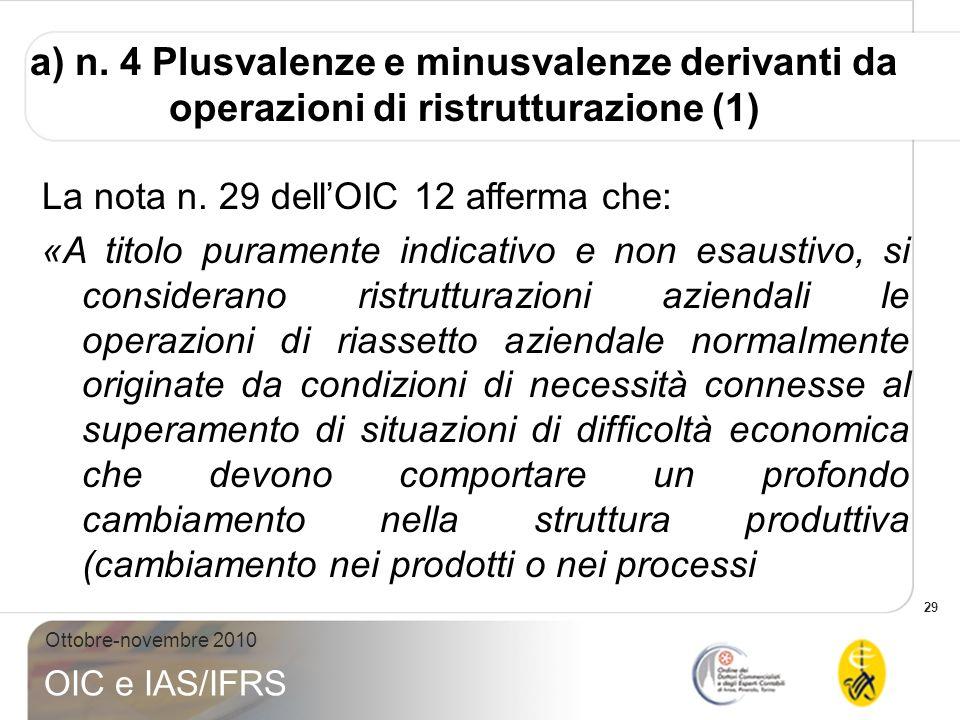 29 Ottobre-novembre 2010 OIC e IAS/IFRS a) n. 4 Plusvalenze e minusvalenze derivanti da operazioni di ristrutturazione (1) La nota n. 29 dellOIC 12 af