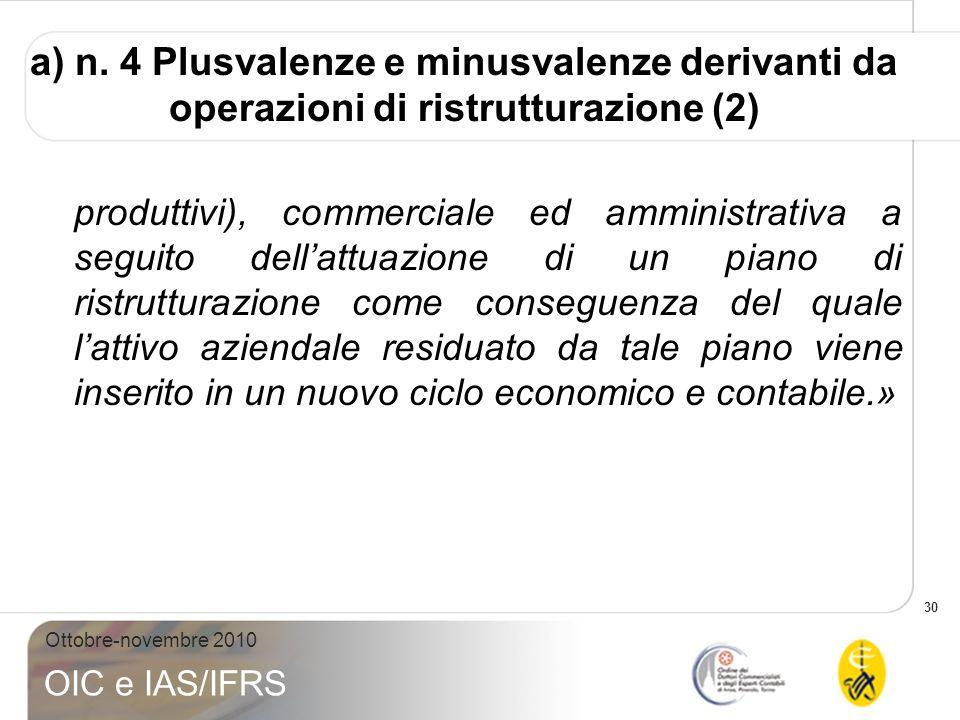 30 Ottobre-novembre 2010 OIC e IAS/IFRS a) n. 4 Plusvalenze e minusvalenze derivanti da operazioni di ristrutturazione (2) produttivi), commerciale ed