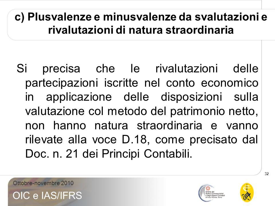 32 Ottobre-novembre 2010 OIC e IAS/IFRS c) Plusvalenze e minusvalenze da svalutazioni e rivalutazioni di natura straordinaria Si precisa che le rivalu