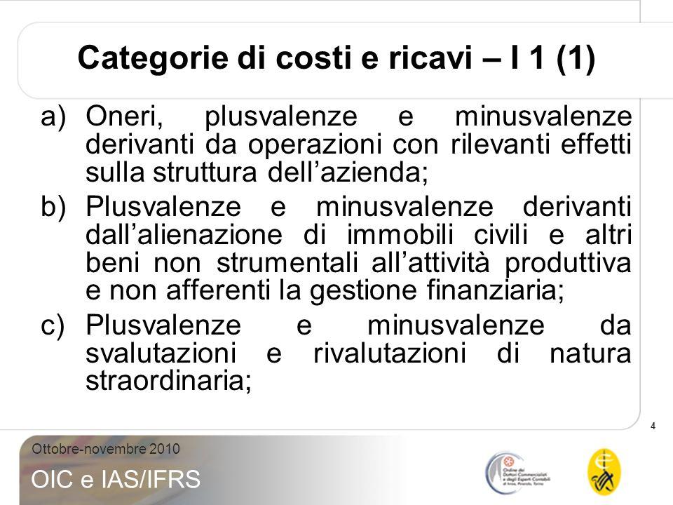 4 Ottobre-novembre 2010 OIC e IAS/IFRS Categorie di costi e ricavi – I 1 (1) a)Oneri, plusvalenze e minusvalenze derivanti da operazioni con rilevanti