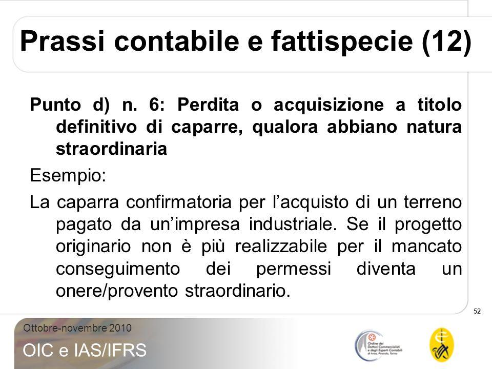 52 Ottobre-novembre 2010 OIC e IAS/IFRS Prassi contabile e fattispecie (12) Punto d) n. 6: Perdita o acquisizione a titolo definitivo di caparre, qual