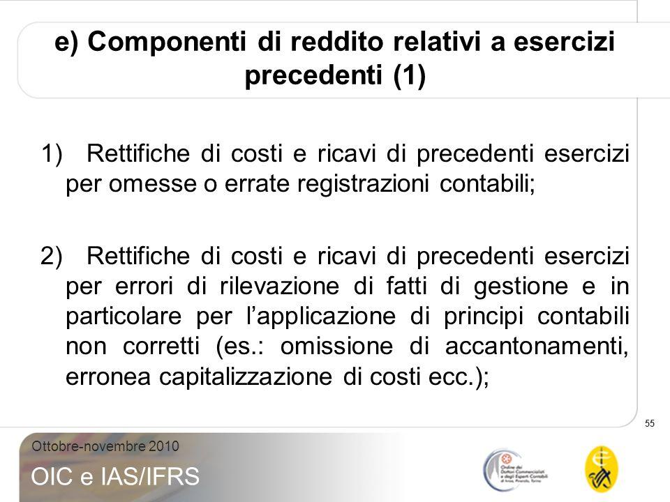 55 Ottobre-novembre 2010 OIC e IAS/IFRS e) Componenti di reddito relativi a esercizi precedenti (1) 1) Rettifiche di costi e ricavi di precedenti eser