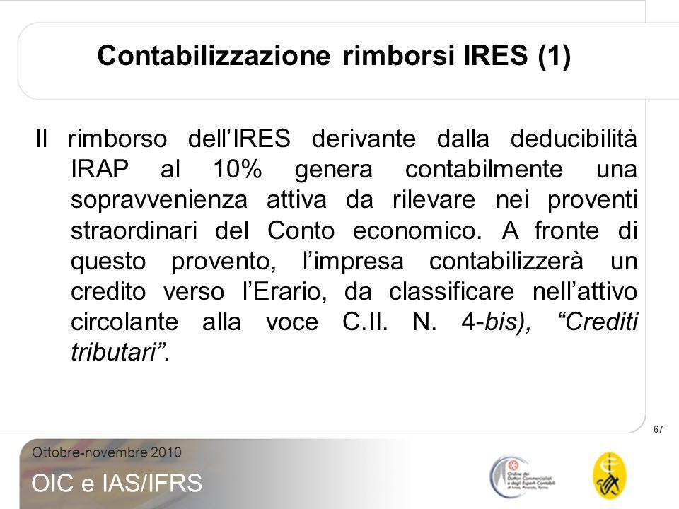 67 Ottobre-novembre 2010 OIC e IAS/IFRS Contabilizzazione rimborsi IRES (1) Il rimborso dellIRES derivante dalla deducibilità IRAP al 10% genera conta