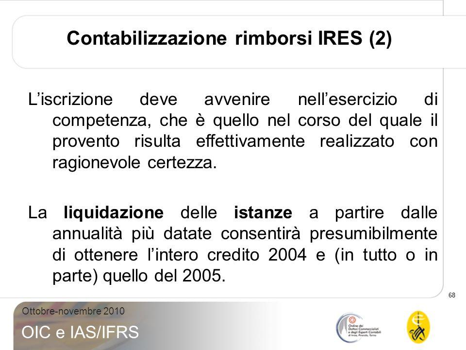 68 Ottobre-novembre 2010 OIC e IAS/IFRS Liscrizione deve avvenire nellesercizio di competenza, che è quello nel corso del quale il provento risulta ef