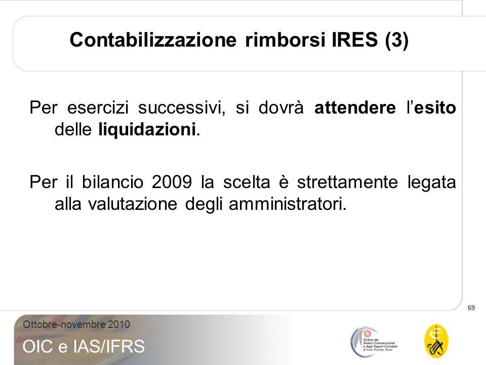 69 Ottobre-novembre 2010 OIC e IAS/IFRS Contabilizzazione rimborsi IRES (3) Per esercizi successivi, si dovrà attendere lesito delle liquidazioni. Per