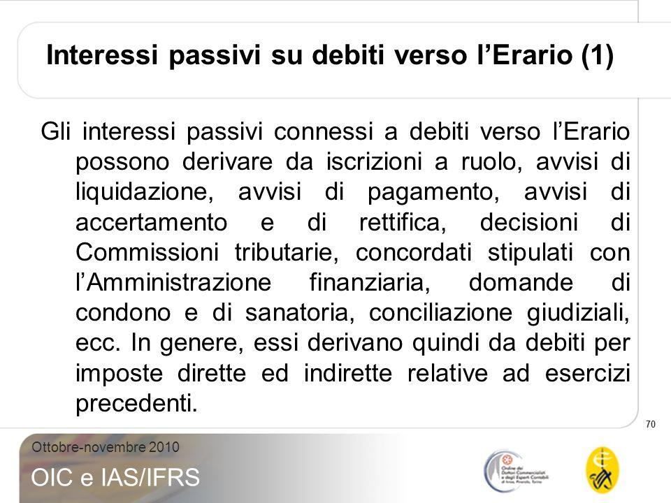 70 Ottobre-novembre 2010 OIC e IAS/IFRS Interessi passivi su debiti verso lErario (1) Gli interessi passivi connessi a debiti verso lErario possono de
