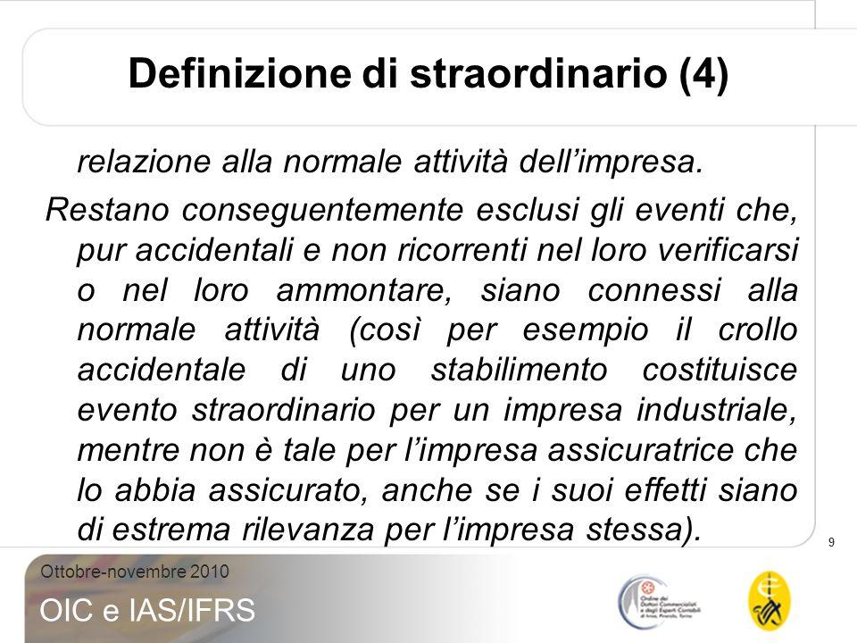 9 Ottobre-novembre 2010 OIC e IAS/IFRS relazione alla normale attività dellimpresa. Restano conseguentemente esclusi gli eventi che, pur accidentali e