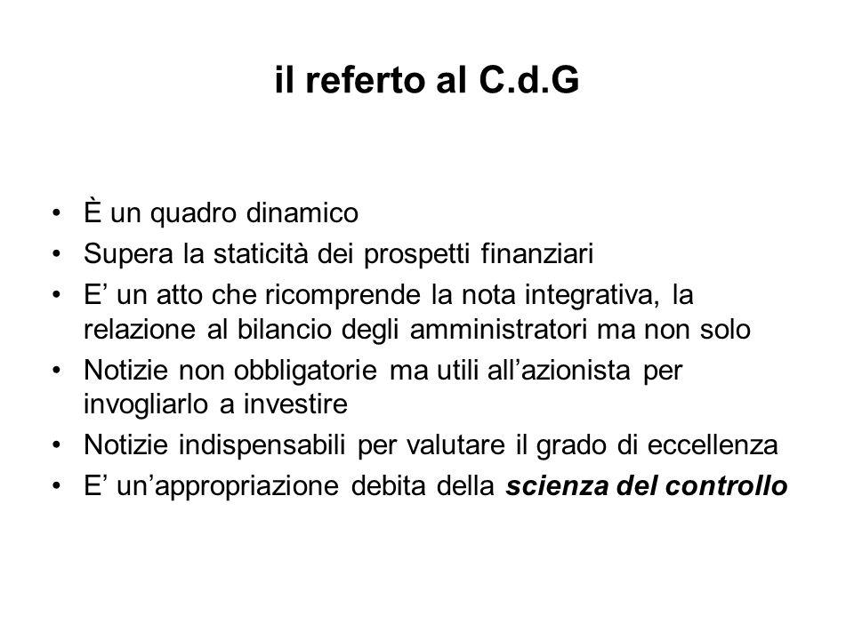 il referto al C.d.G È un quadro dinamico Supera la staticità dei prospetti finanziari E un atto che ricomprende la nota integrativa, la relazione al b