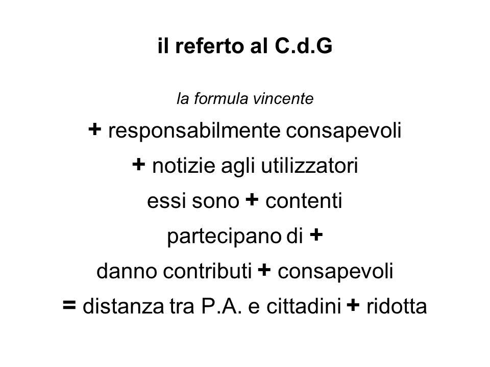 il referto al C.d.G la formula vincente + responsabilmente consapevoli + notizie agli utilizzatori essi sono + contenti partecipano di + danno contributi + consapevoli = distanza tra P.A.