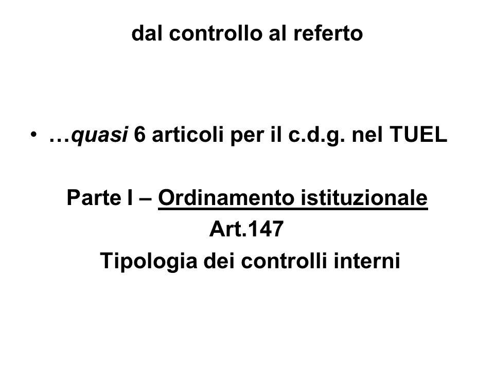 dal controllo al referto …quasi 6 articoli per il c.d.g. nel TUEL Parte I – Ordinamento istituzionale Art.147 Tipologia dei controlli interni