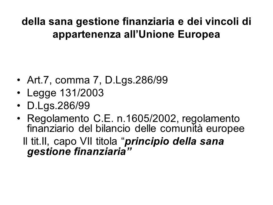 della sana gestione finanziaria e dei vincoli di appartenenza allUnione Europea Art.7, comma 7, D.Lgs.286/99 Legge 131/2003 D.Lgs.286/99 Regolamento C.E.