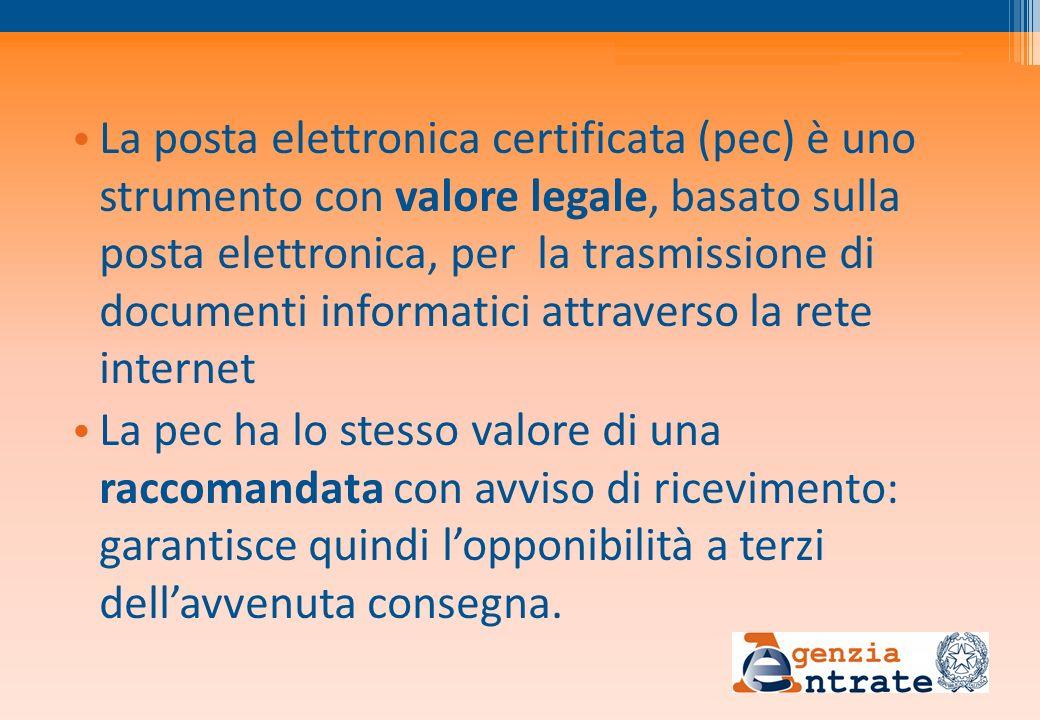 La posta elettronica certificata (pec) è uno strumento con valore legale, basato sulla posta elettronica, per la trasmissione di documenti informatici