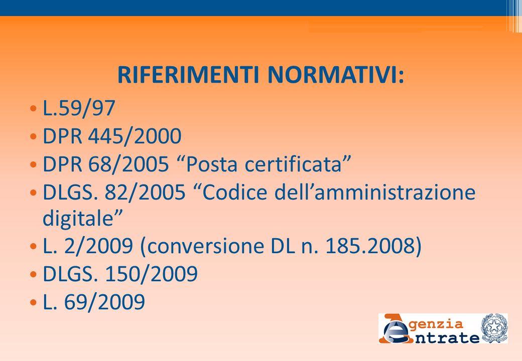 RIFERIMENTI NORMATIVI: L.59/97 DPR 445/2000 DPR 68/2005 Posta certificata DLGS. 82/2005 Codice dellamministrazione digitale L. 2/2009 (conversione DL