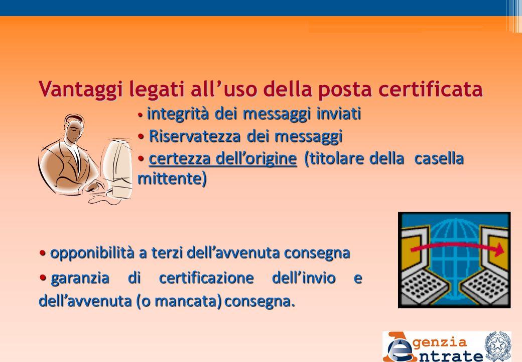 Vantaggi legati alluso della posta certificata integrità dei messaggi inviati integrità dei messaggi inviati Riservatezza dei messaggi Riservatezza de