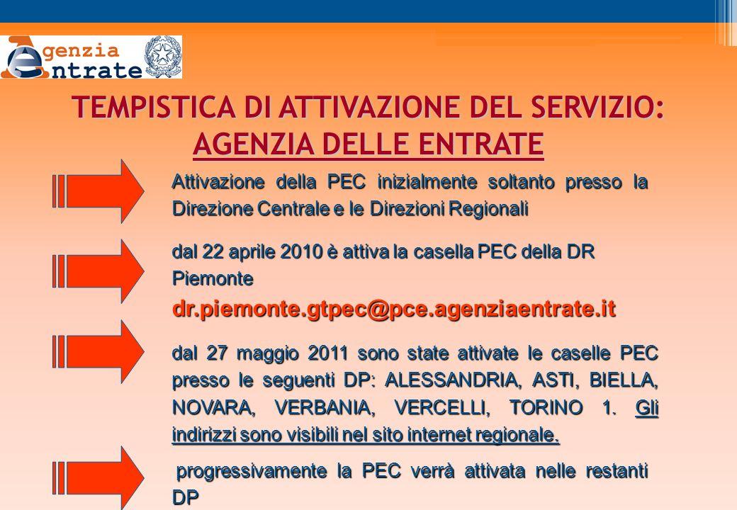 TEMPISTICA DI ATTIVAZIONE DEL SERVIZIO: AGENZIA DELLE ENTRATE dal 22 aprile 2010 è attiva la casella PEC della DR Piemonte dr.piemonte.gtpec@pce.agenziaentrate.it Attivazione della PEC inizialmente soltanto presso la Direzione Centrale e le Direzioni Regionali dal 27 maggio 2011 sono state attivate le caselle PEC presso le seguenti DP: ALESSANDRIA, ASTI, BIELLA, NOVARA, VERBANIA, VERCELLI, TORINO 1.