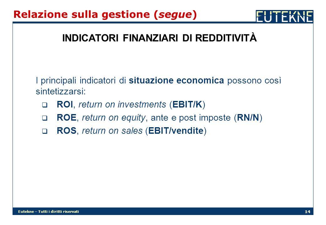 Eutekne – Tutti i diritti riservati 14 Relazione sulla gestione (segue) INDICATORI FINANZIARI DI REDDITIVITÀ I principali indicatori di situazione economica possono così sintetizzarsi: ROI, return on investments (EBIT/K) ROE, return on equity, ante e post imposte (RN/N) ROS, return on sales (EBIT/vendite)
