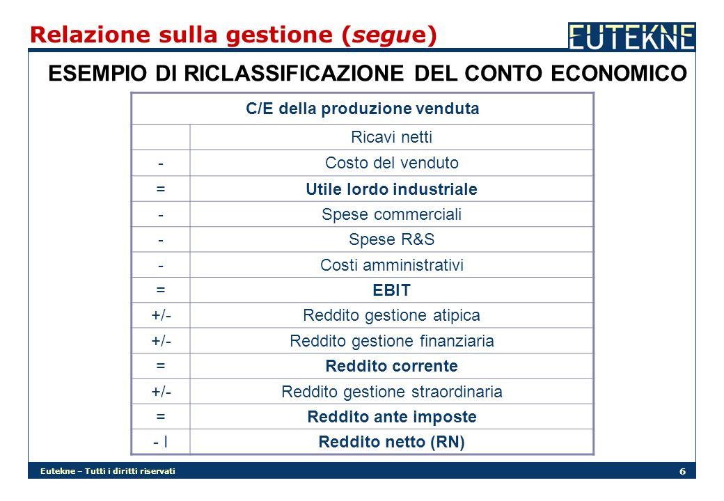 Eutekne – Tutti i diritti riservati 6 Relazione sulla gestione (segue) ESEMPIO DI RICLASSIFICAZIONE DEL CONTO ECONOMICO C/E della produzione venduta Ricavi netti -Costo del venduto =Utile lordo industriale -Spese commerciali -Spese R&S -Costi amministrativi =EBIT +/-Reddito gestione atipica +/-Reddito gestione finanziaria =Reddito corrente +/-Reddito gestione straordinaria =Reddito ante imposte - IReddito netto (RN)