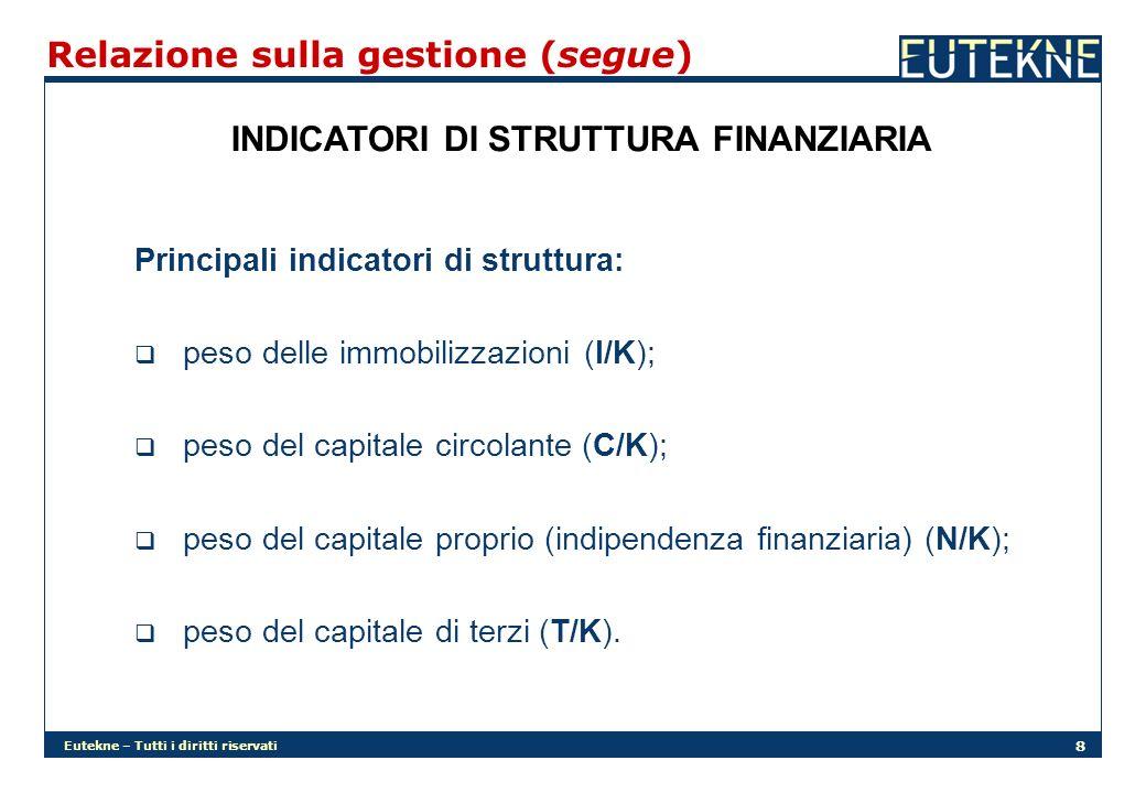Eutekne – Tutti i diritti riservati 8 Relazione sulla gestione (segue) INDICATORI DI STRUTTURA FINANZIARIA Principali indicatori di struttura: peso delle immobilizzazioni (I/K); peso del capitale circolante (C/K); peso del capitale proprio (indipendenza finanziaria) (N/K); peso del capitale di terzi (T/K).