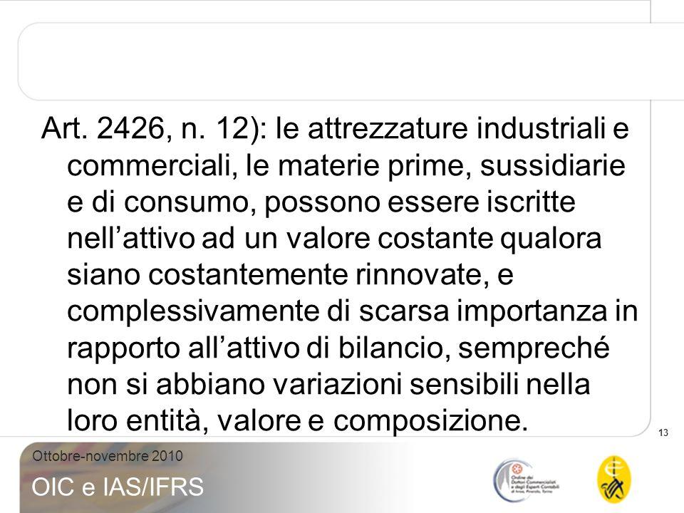 13 Ottobre-novembre 2010 OIC e IAS/IFRS Art. 2426, n. 12): le attrezzature industriali e commerciali, le materie prime, sussidiarie e di consumo, poss