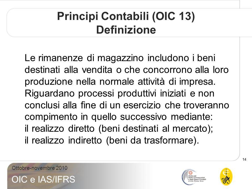 14 Ottobre-novembre 2010 OIC e IAS/IFRS Le rimanenze di magazzino includono i beni destinati alla vendita o che concorrono alla loro produzione nella