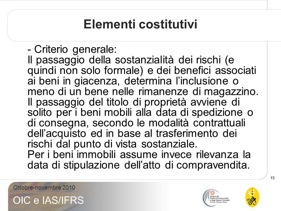 15 Ottobre-novembre 2010 OIC e IAS/IFRS - Criterio generale: Il passaggio della sostanzialità dei rischi (e quindi non solo formale) e dei benefici as