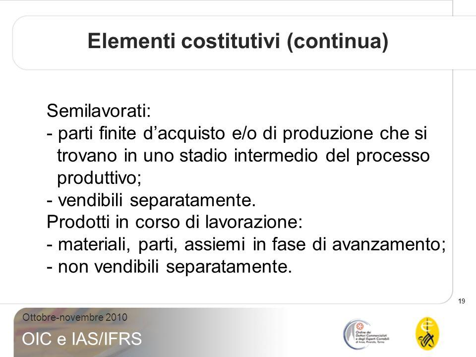 19 Ottobre-novembre 2010 OIC e IAS/IFRS Semilavorati: - parti finite dacquisto e/o di produzione che si trovano in uno stadio intermedio del processo