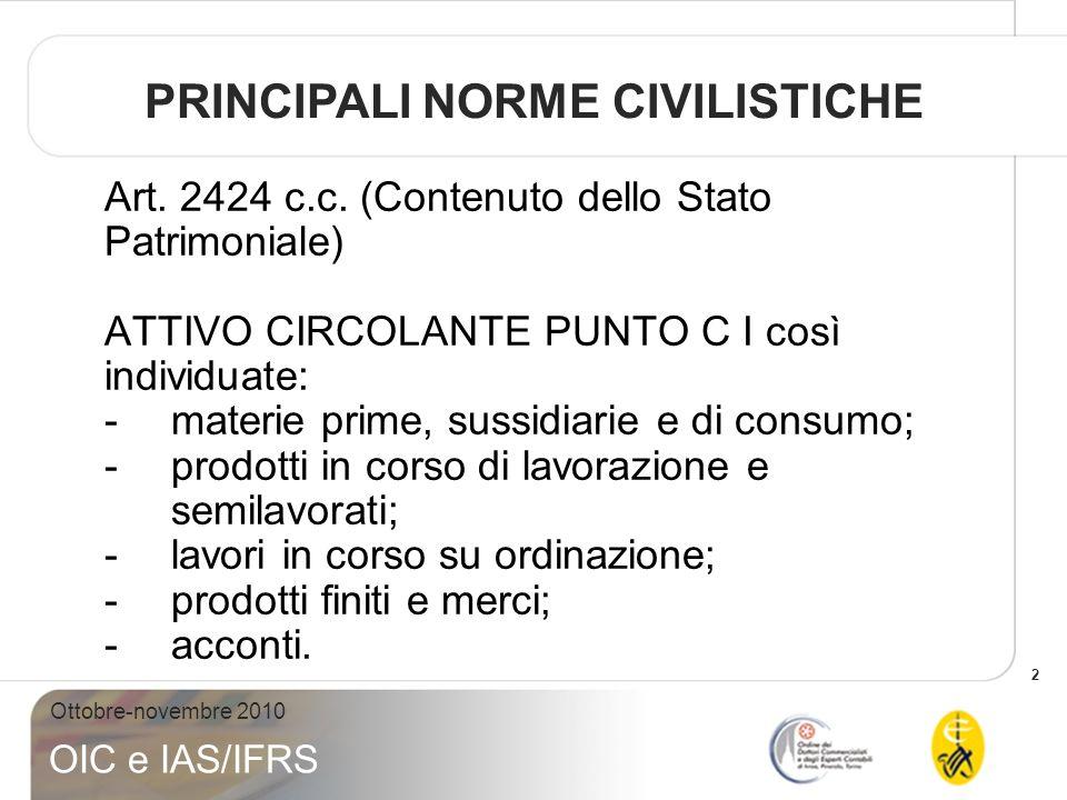 2 Ottobre-novembre 2010 OIC e IAS/IFRS Art. 2424 c.c. (Contenuto dello Stato Patrimoniale) ATTIVO CIRCOLANTE PUNTO C I così individuate: -materie prim