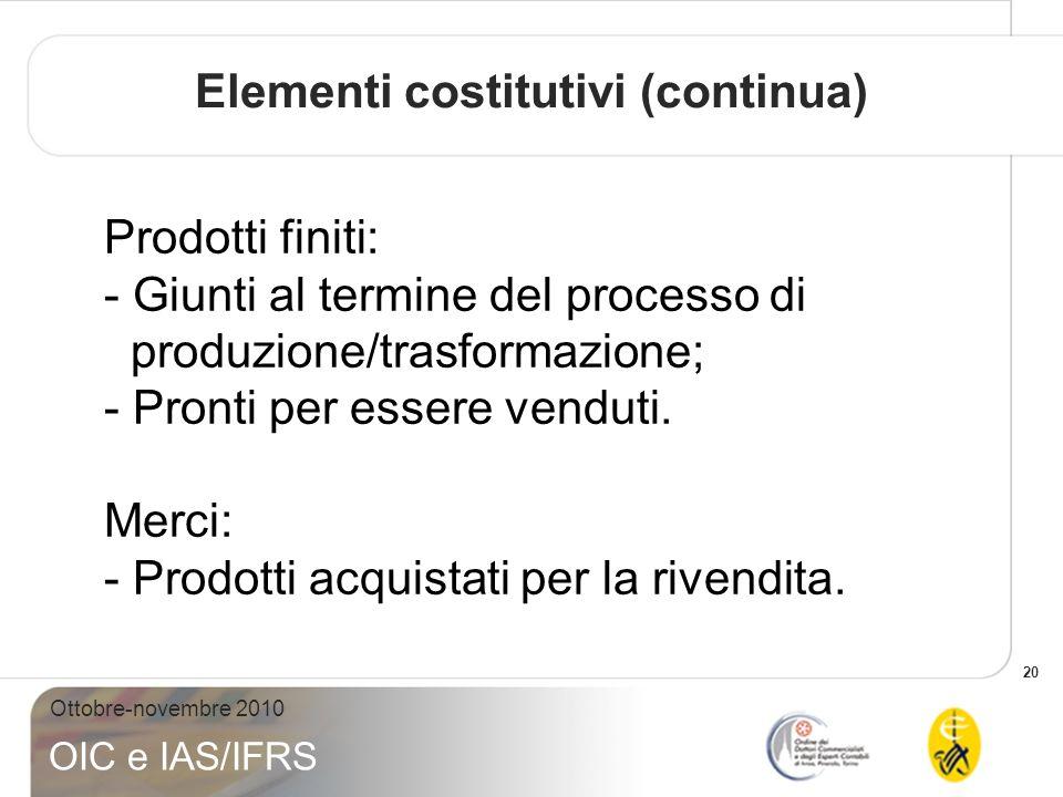 20 Ottobre-novembre 2010 OIC e IAS/IFRS Prodotti finiti: - Giunti al termine del processo di produzione/trasformazione; - Pronti per essere venduti. M