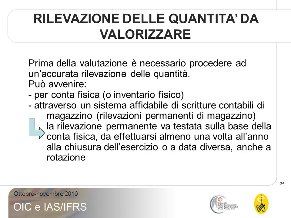 25 Ottobre-novembre 2010 OIC e IAS/IFRS Prima della valutazione è necessario procedere ad unaccurata rilevazione delle quantità. Può avvenire: - per c