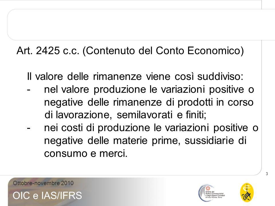3 Ottobre-novembre 2010 OIC e IAS/IFRS Art. 2425 c.c. (Contenuto del Conto Economico) Il valore delle rimanenze viene così suddiviso: -nel valore prod