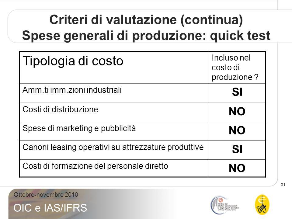 31 Ottobre-novembre 2010 OIC e IAS/IFRS Criteri di valutazione (continua) Spese generali di produzione: quick test Tipologia di costo Incluso nel cost