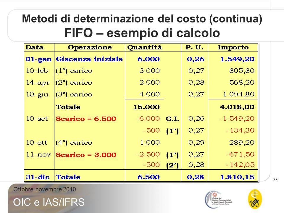 38 Ottobre-novembre 2010 OIC e IAS/IFRS Metodi di determinazione del costo (continua) FIFO – esempio di calcolo
