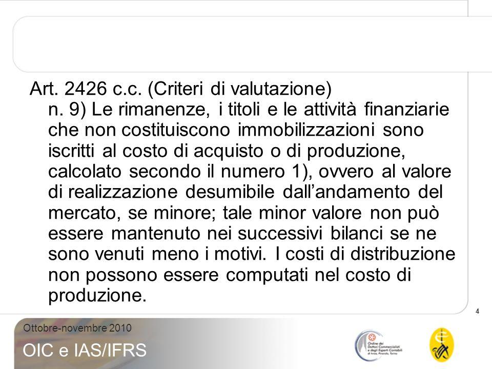 4 Ottobre-novembre 2010 OIC e IAS/IFRS Art. 2426 c.c. (Criteri di valutazione) n. 9) Le rimanenze, i titoli e le attività finanziarie che non costitui