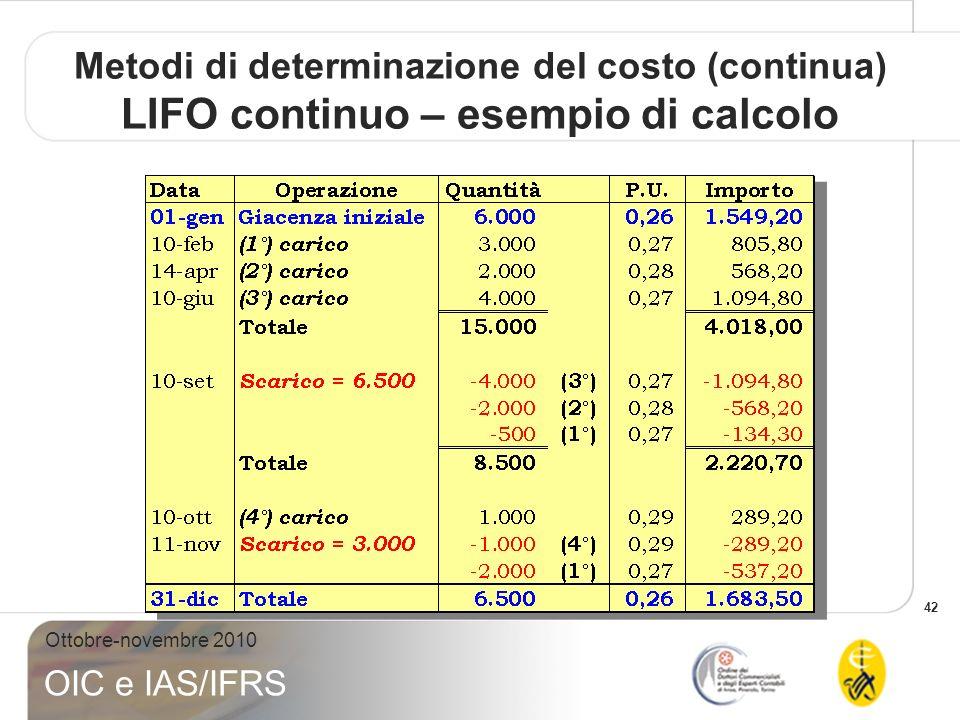 42 Ottobre-novembre 2010 OIC e IAS/IFRS Metodi di determinazione del costo (continua) LIFO continuo – esempio di calcolo