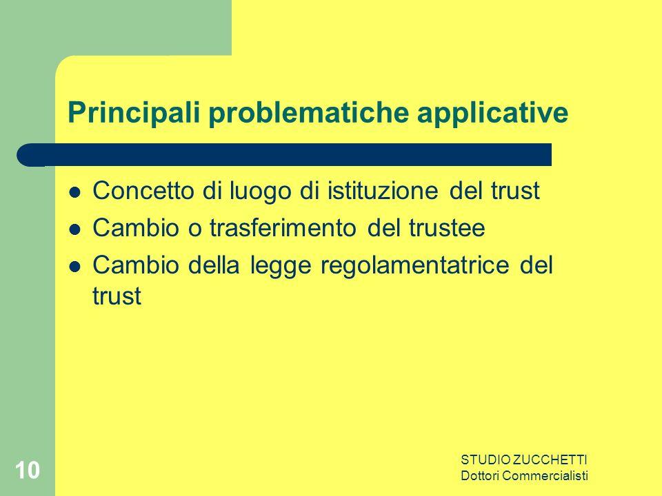 STUDIO ZUCCHETTI Dottori Commercialisti 10 Principali problematiche applicative Concetto di luogo di istituzione del trust Cambio o trasferimento del trustee Cambio della legge regolamentatrice del trust