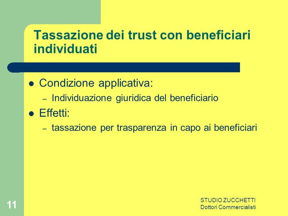 STUDIO ZUCCHETTI Dottori Commercialisti 11 Tassazione dei trust con beneficiari individuati Condizione applicativa: – Individuazione giuridica del beneficiario Effetti: – tassazione per trasparenza in capo ai beneficiari