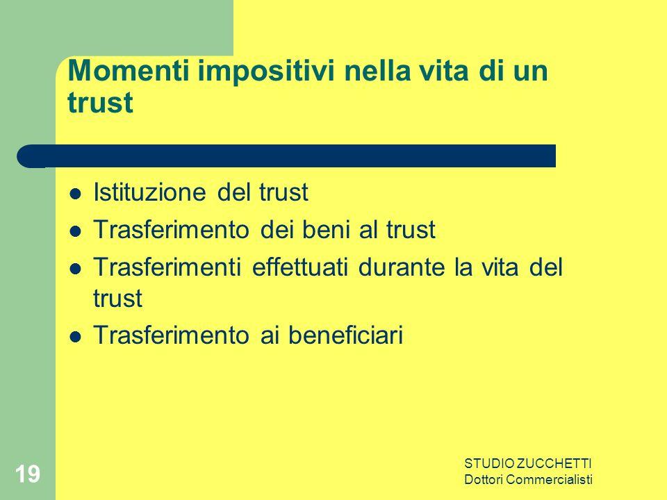 STUDIO ZUCCHETTI Dottori Commercialisti 19 Momenti impositivi nella vita di un trust Istituzione del trust Trasferimento dei beni al trust Trasferimenti effettuati durante la vita del trust Trasferimento ai beneficiari