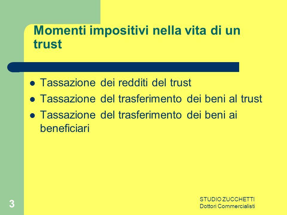 STUDIO ZUCCHETTI Dottori Commercialisti 3 Momenti impositivi nella vita di un trust Tassazione dei redditi del trust Tassazione del trasferimento dei beni al trust Tassazione del trasferimento dei beni ai beneficiari