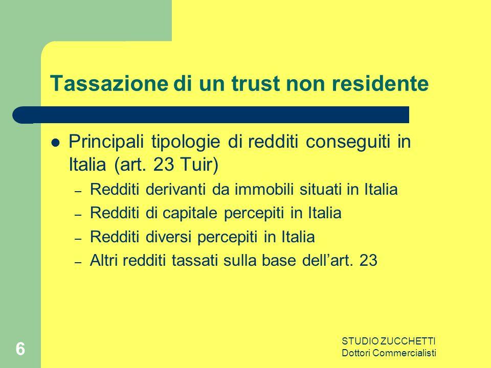 STUDIO ZUCCHETTI Dottori Commercialisti 6 Tassazione di un trust non residente Principali tipologie di redditi conseguiti in Italia (art.