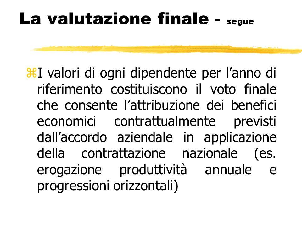 La valutazione finale - segue zI valori di ogni dipendente per lanno di riferimento costituiscono il voto finale che consente lattribuzione dei benefi