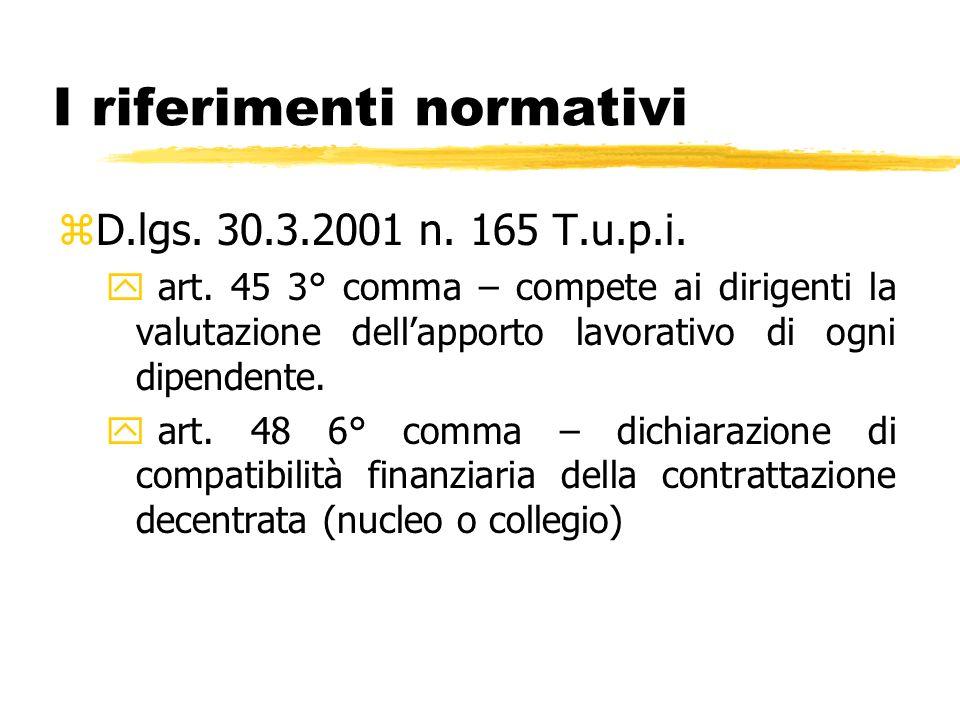 I riferimenti normativi zD.lgs. 30.3.2001 n. 165 T.u.p.i. y art. 45 3° comma – compete ai dirigenti la valutazione dellapporto lavorativo di ogni dipe