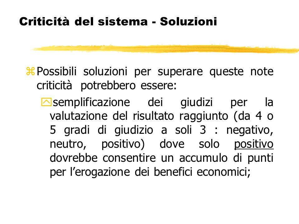 Criticità del sistema - Soluzioni zPossibili soluzioni per superare queste note criticità potrebbero essere: ysemplificazione dei giudizi per la valut