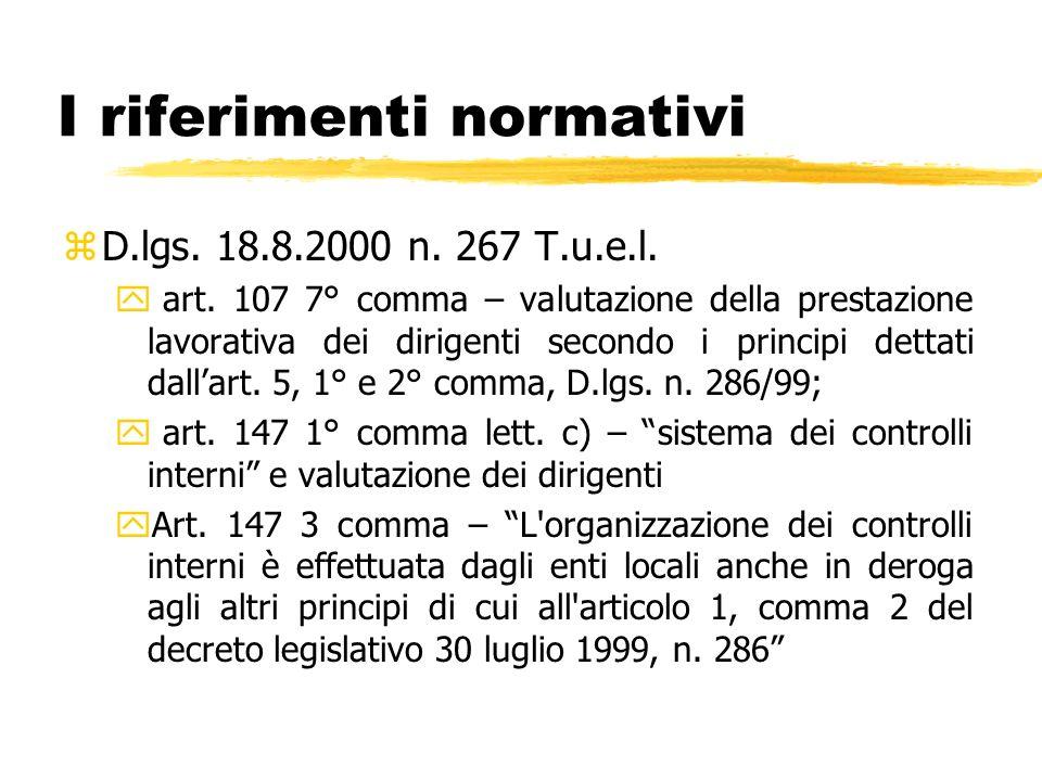 I riferimenti normativi zD.lgs. 18.8.2000 n. 267 T.u.e.l. y art. 107 7° comma – valutazione della prestazione lavorativa dei dirigenti secondo i princ
