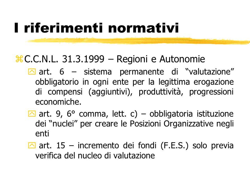 I riferimenti normativi zC.C.N.L. 31.3.1999 – Regioni e Autonomie y art. 6 – sistema permanente di valutazione obbligatorio in ogni ente per la legitt