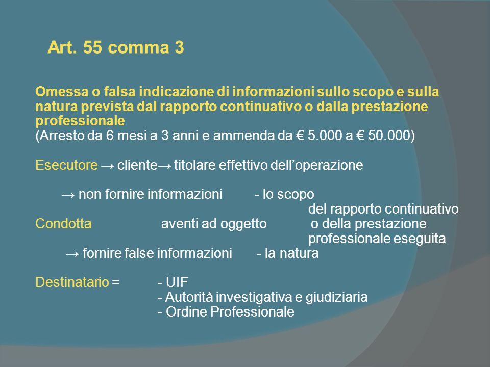 Art. 55 comma 3 Omessa o falsa indicazione di informazioni sullo scopo e sulla natura prevista dal rapporto continuativo o dalla prestazione professio
