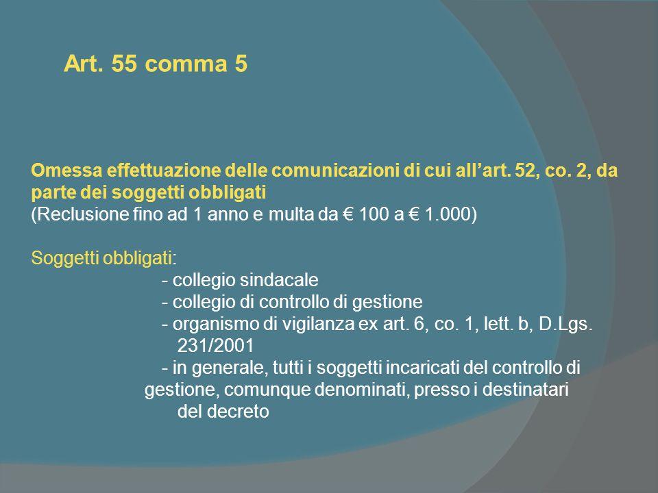 Art. 55 comma 5 Omessa effettuazione delle comunicazioni di cui allart.