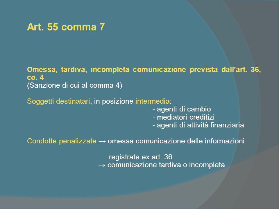Art. 55 comma 7 Omessa, tardiva, incompleta comunicazione prevista dallart.