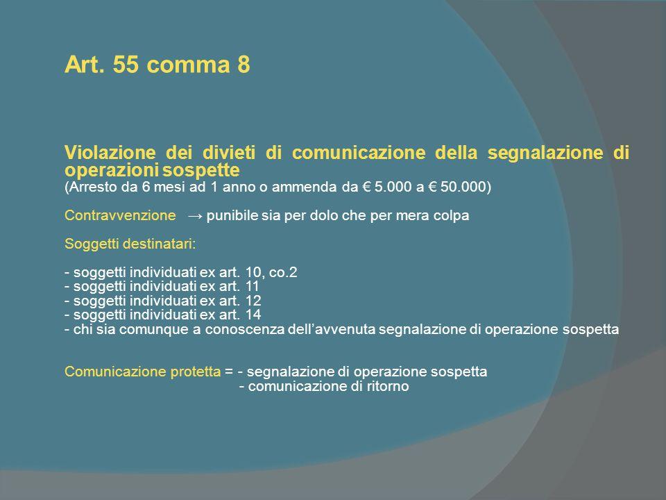 Art. 55 comma 8 Violazione dei divieti di comunicazione della segnalazione di operazioni sospette (Arresto da 6 mesi ad 1 anno o ammenda da 5.000 a 50
