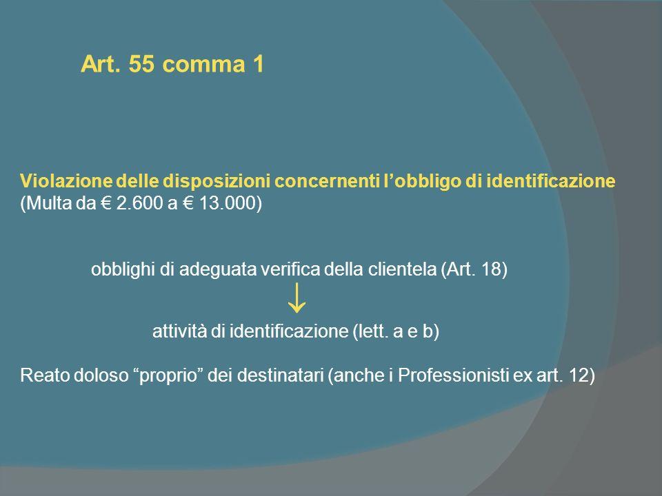 Art. 55 comma 1 Violazione delle disposizioni concernenti lobbligo di identificazione (Multa da 2.600 a 13.000) obblighi di adeguata verifica della cl